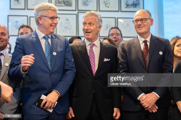 Baron Pieter Timmermans King Philippe of Belgium and new FEB Chairman Bart De Smet attend the 125th anniversary celebration of the Federation of...