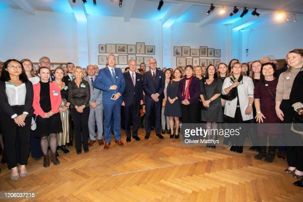 Baron Pieter Timmermans King Philippe of Belgium FEB Chairman Bart De Smet and FEB staff attend the 125th anniversary celebration of the Federation...