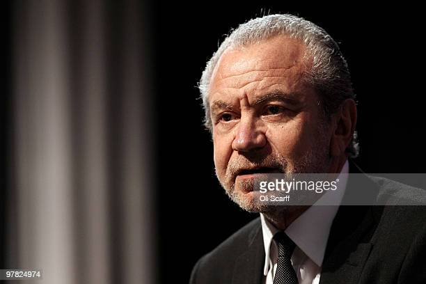 Baron Sugar speaks at the British Chamber of Commerce Annual Conference held at the headquarters of BAFTA on March 18 2010 in London England The...