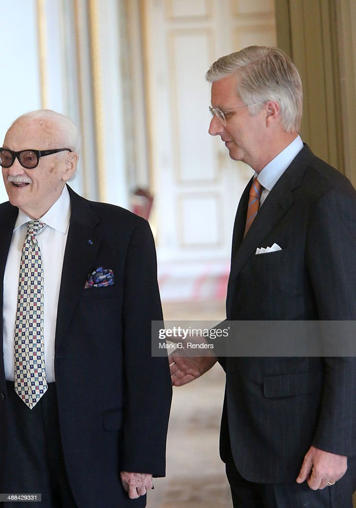 Baron Toots Thielemans and King Philippe of Belgium pose for a picture at Laeken Castle on May 6, 2014 in Brussels, Belgium.