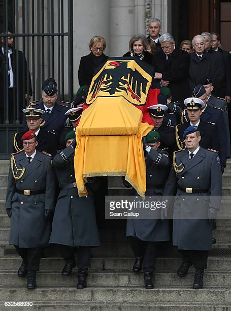 Baroness Alexandra von Berlichingen widow of former German President Roman Herzog and German President Joachim Gauck follow pallbearers carrying the...