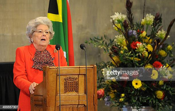 Baroness Boothroyd speaks at the Celebration of the Life of Nelson Mandela held at the Westminster Hall House of Commons on December 12 2013 in...
