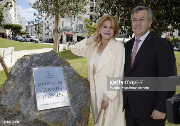 Baroness Carmen Thyssen and Jose Maria Garcia Urbano attend the opening of 'Carmen Thyssen Gardens' on March 19 2018 in Estepona Spain