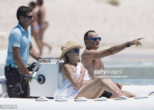Baroness Carmen ThyssenBornemisza and Manolo Segura are seen on July 23 2014 in Ibiza Spain