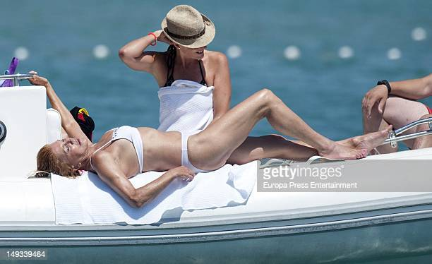 Baroness Carmen ThyssenBornemisza relaxes on a boat on July 26 2012 in Madrid Spain
