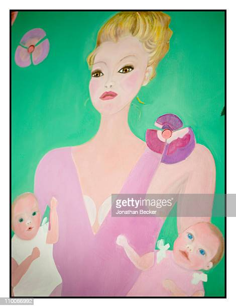 Baroness Carmen von Thyssen's painting is photographed for Vanity Fair Spain on August 24 2010 in Sant Feliu Spain Published image