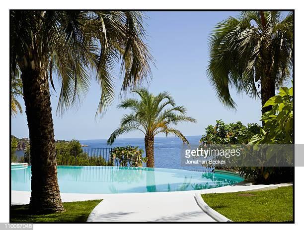 Baroness Carmen von Thyssen's pool is photographed for Vanity Fair Spain on August 24 2010 in Sant Feliu Spain Published image