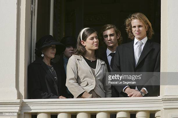 Baroness ElisabethAnne de Massy and Charlotte Pierre and Andrea Casiraghi attend the Army Parade as part of Monaco's National Day celebrations on...