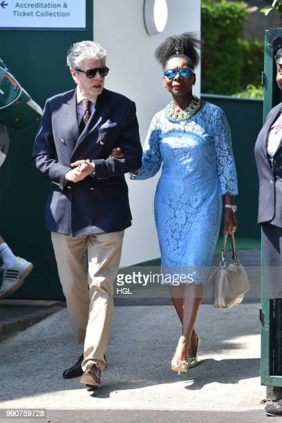 Baroness Floella Benjamin and Keith Taylor seen outside Wimbledon AELTC on July 3 2018 in London England