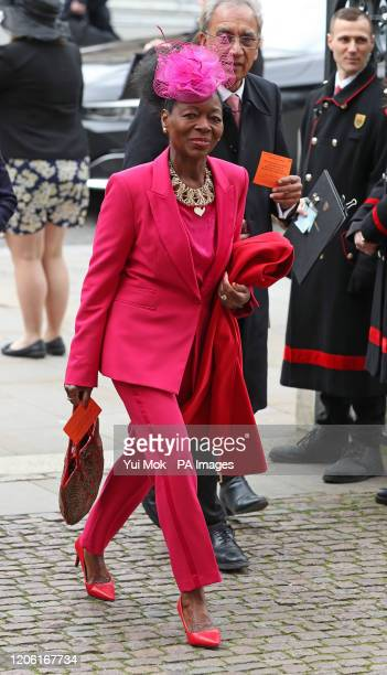 Baroness Floella Benjamin arrives at the Commonwealth Service at Westminster Abbey London on Commonwealth Day The service is the Duke and Duchess of...