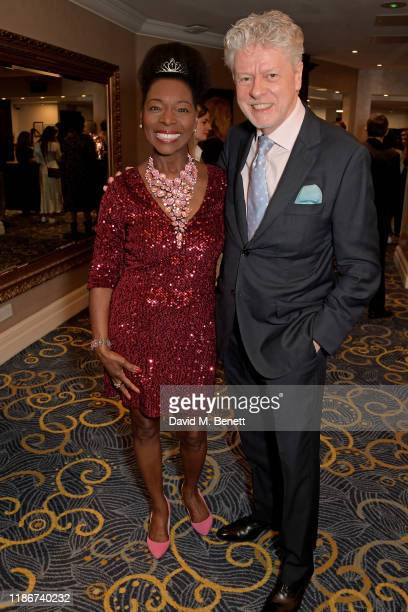 Baroness Floella Benjamin OBE Aileen Pringle and Keith Taylor attend the Women in Film and TV Awards 2019 at Hilton Park Lane on December 06 2019 in...