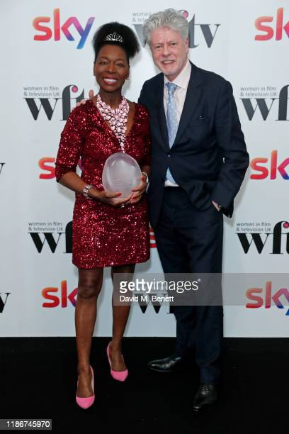Baroness Floella Benjamin OBE winner of the EON Lifetime Achievement Award and Keith Taylor in the winners room at the Women in Film and TV Awards...