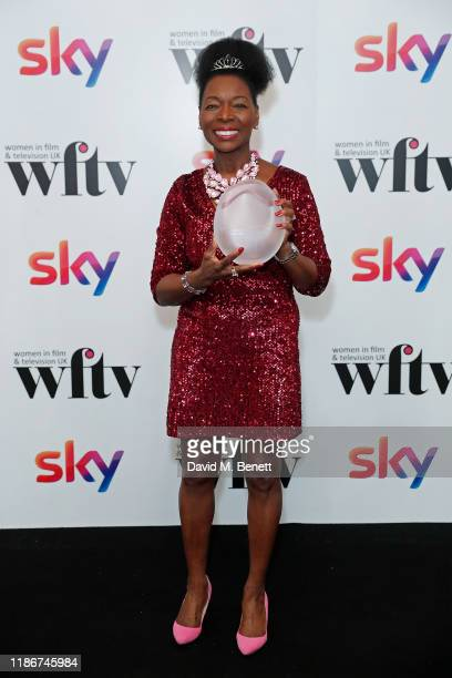 Baroness Floella Benjamin OBE winner of the EON Lifetime Achievement Award in the winners room at the Women in Film and TV Awards 2019 at Hilton Park...