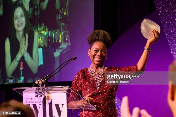 Baroness Floella Benjamin OBE winner of the EON Lifetime Achievement Award on stage at the Women in Film and TV Awards 2019 at Hilton Park Lane on...