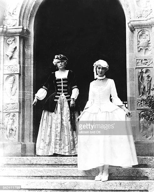 Baroness Karla Böcklin and Mathilde von Mumm at a comstume party of Mrs Ulla Haniel the wife of Richard Haniel in the house Falkenhalde in the near...