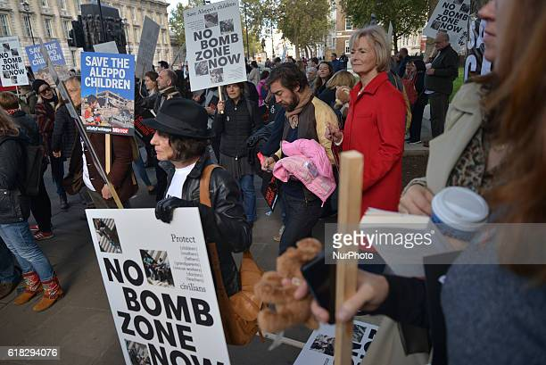 Baroness Kinnock of Holyhead also known as Glenys Kinnock politician attends the 'Rally for Aleppo' outside Downing Street on October 22 2016 in...