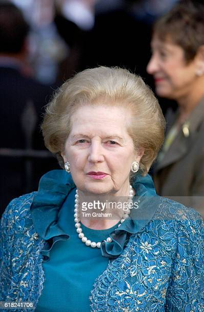 Baroness Margaret Thatcher attends a celebrity party hosted by broadcaster Sir David Frost in Chelsea