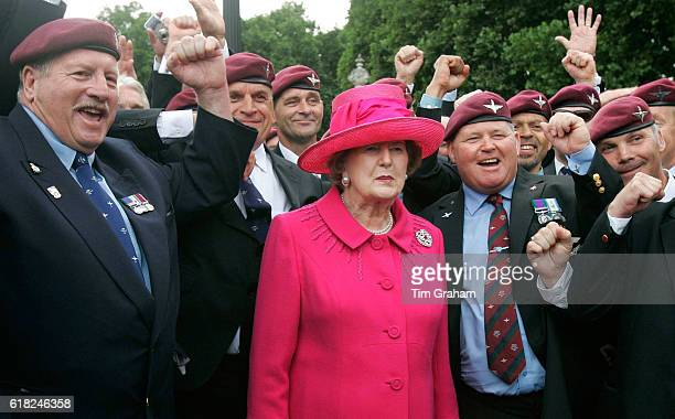 Baroness Margaret Thatcher meets Falklands veterans in The Mall after the Falklands Veterans Parade held to commemorate 25 years since the end of the...