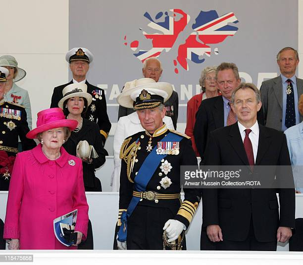 Baroness Margaret Thatcher stands beside Prince Charles, Prince of Wales and Tony Blair during a Falklands War commemoration at Horseguards Parade...