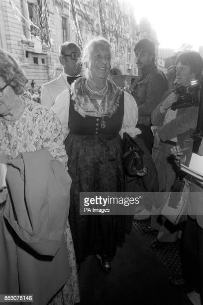 Baroness Maria von Trapp arriving in her dirndl at the Apollo Victoria Theatre in London for the first night of the stage version of the Sound Of...