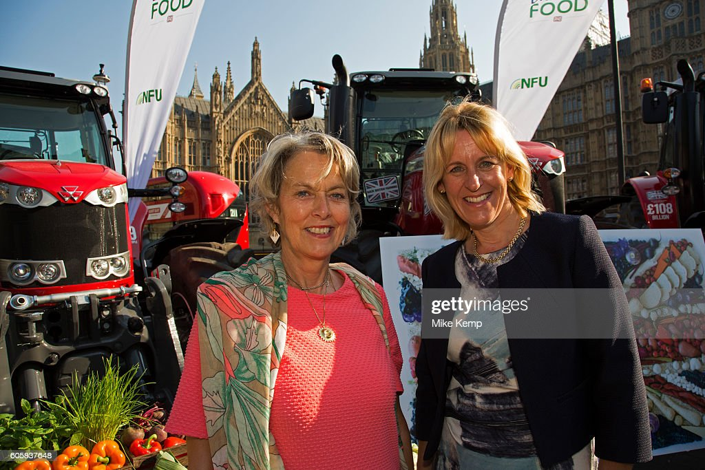 Baroness McIntosh of Pickering with NFU Vice President Minette Batters at the National Farmers Union (NFU) took machinery, produce, farmers and staff to Westminster to encourage Members of Parliament to back British farming, post Brexit on 14th September 2016 in London, United Kingdom. MPs were encouraged to sign the NFUs pledge and wear a British wheat and wool pin badge to show their support.