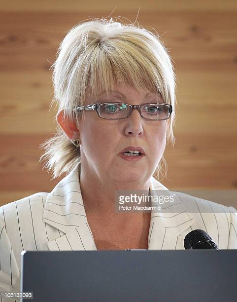 Baroness Newlove introduces Home Secretary Theresa May on July 28 2010 in London England Speaking to community workers police and reporters the Home...