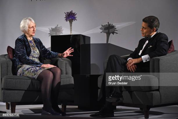 Baroness Onora O'Neil of Bengarve speaks with Fareed Zakaria onstage during the Berggruen Prize Gala at the New York Public Library on December 14...