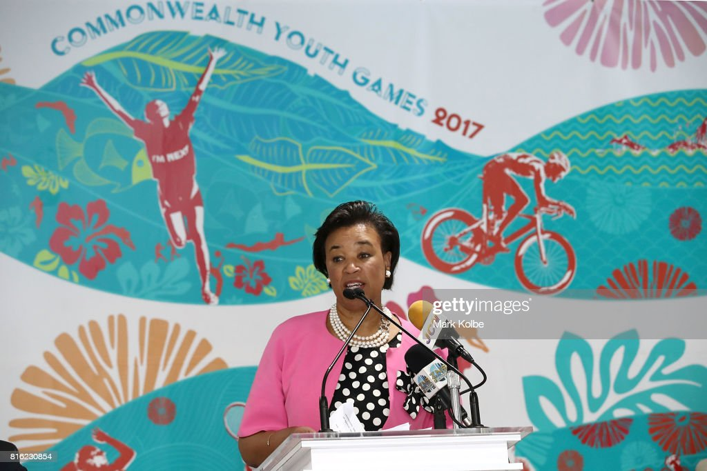Baroness Patricia Scotland, Commonwealth Secretary General speaks to the media during the 2017 Commonwealth Youth Games Opening Press Conference held at the Thomas A Robinson Stadium on July 17, 2017 in Nassau, Bahamas.