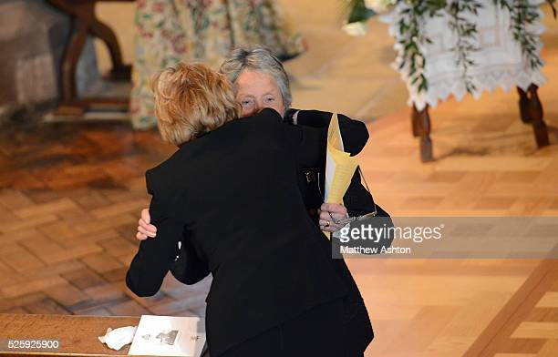 Baroness Rachael HeyhoeFlint shares a moment with Patti Bloom during the Funeral of Sir Jack Hayward the former Owner / Chairman of Wolverhampton...