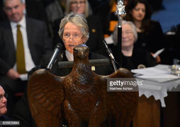 Baroness Rachael HeyhoeFlint speaks during the Funeral of Sir Jack Hayward the former Owner / Chairman of Wolverhampton Wanderers