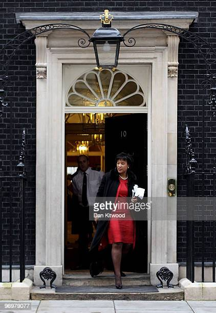 Baroness Scotland Britain's Attorney General leaves Number 10 Downing Street after the weekly Cabinet meeting on February 23 2010 in London England...