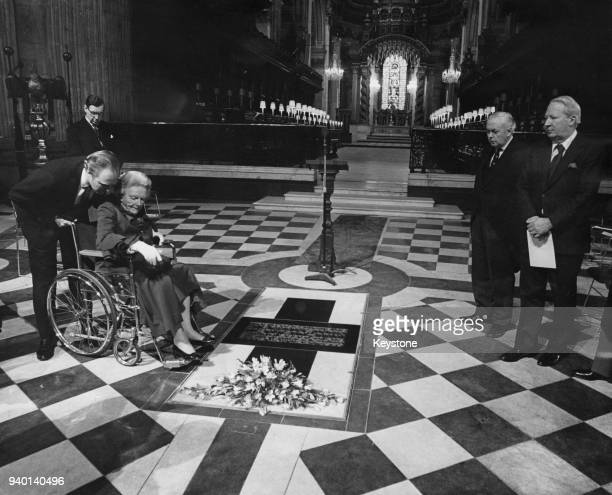 Baroness SpencerChurchill and her grandson Winston Churchill examine a memorial tablet to her late husband former Prime Minister Winston Churchill in...