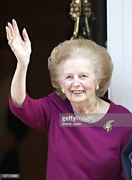 Baroness Thatcher With Two Aides Waves To Wellwishers From Her Belgravia Home After She Left The Cromwell Hospital After Spending Nearly Two Weeks...