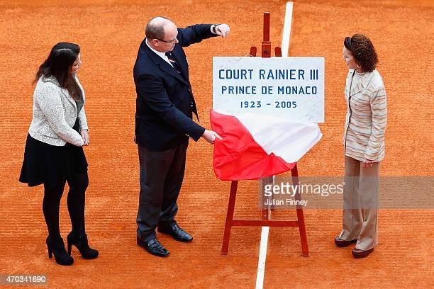 Baronne ElizabethAnn de Massy Albert II Prince of Monaco and MelanieAntoinette de Massy unveil the new centre court name before the final during day...