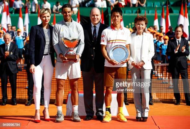 Baronne Elizabeth-Ann de Massy, Presidente Charlene, Princess of Monaco, Albert II, Prince of Monaco with winner Rafael Nadal of Spain after his win...