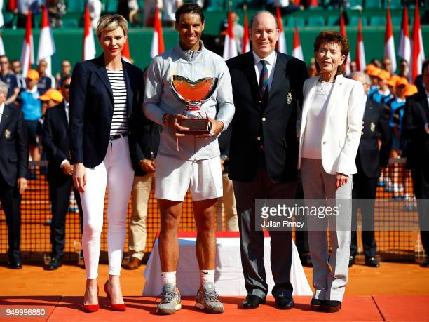Baronne ElizabethAnn de Massy Presidente Charlene Princess of Monaco Albert II Prince of Monaco with winner Rafael Nadal of Spain after his win over...