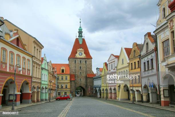 baroque and renaissance buildings along the market place in domazlice, czech republic - plzeň stock pictures, royalty-free photos & images