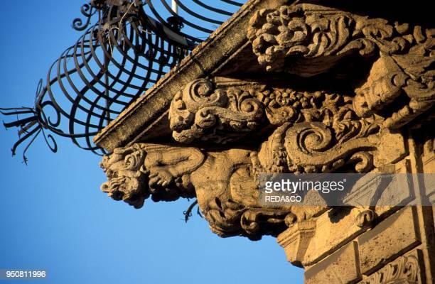 Baroque balcony Acireale Sicily Italy