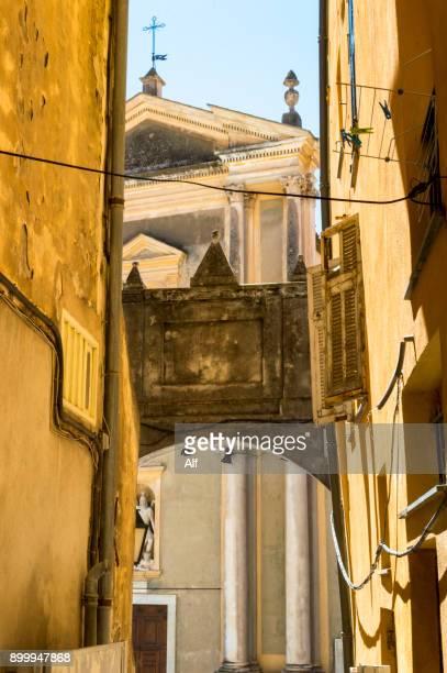 baroque basilique of saint-michel-archange in menton, france - alpes de haute provence stock photos and pictures