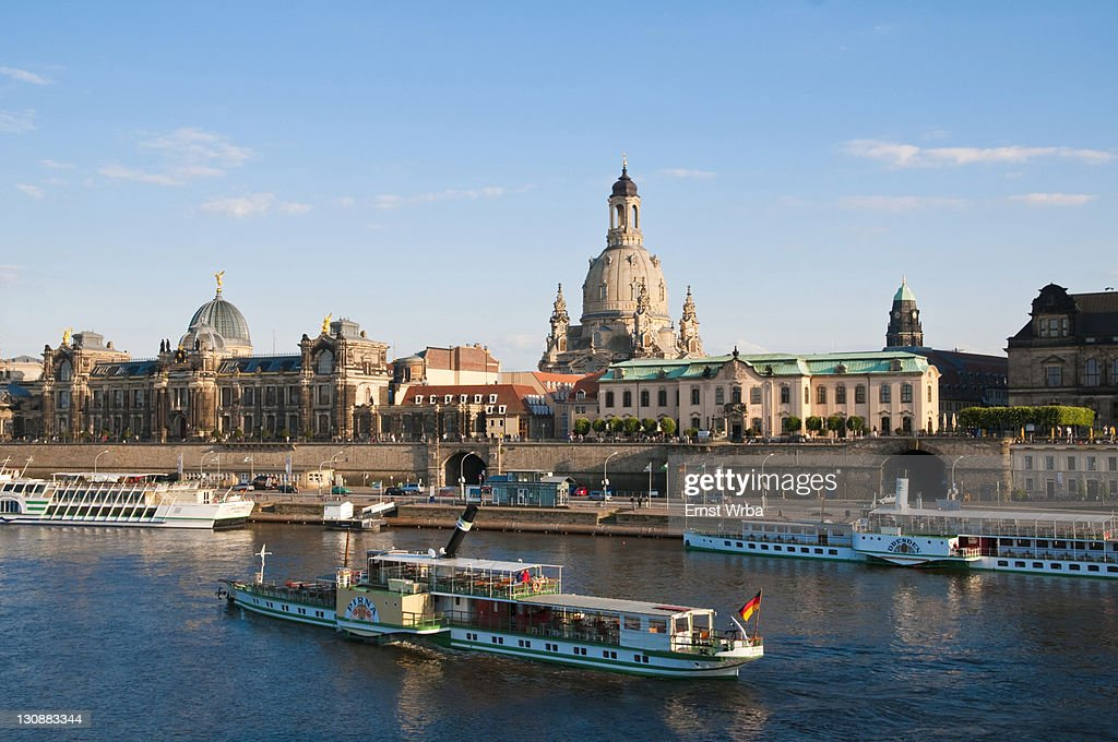 Baroque Dresden, Elbe River, paddle steamers, Bruehl Terrace, Sekundogenitur building, dome of the Frauenkirche, Church of Our Lady, Dresden, Saxony, Germany, Europe : Stock Photo