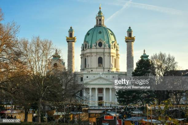 Baroque facade of St Charles Borromeo church (Karlskirche) in Vienna, Austria, a UNESCO heritage site