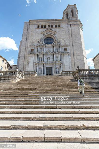 baroque facade of the cathedral. old quarter of girona town - girona stock photos and pictures