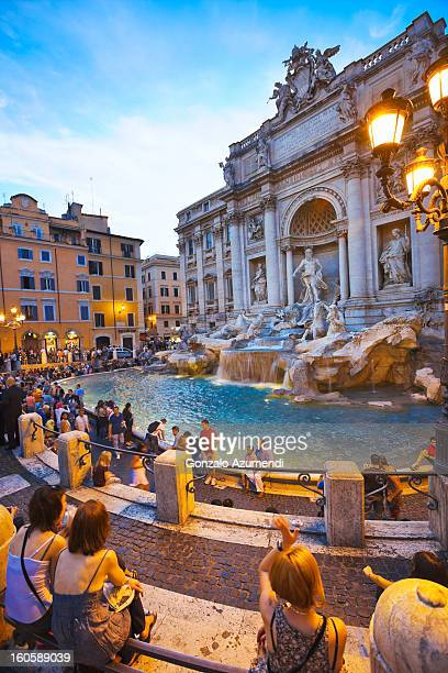 baroque fountain in rome. - trevi fountain stock pictures, royalty-free photos & images