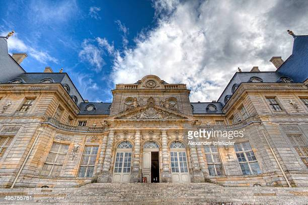 Baroque French Château de Vaux le Vicomte rear entrance in ultra wide angle view, Maincy, France, April 2011.