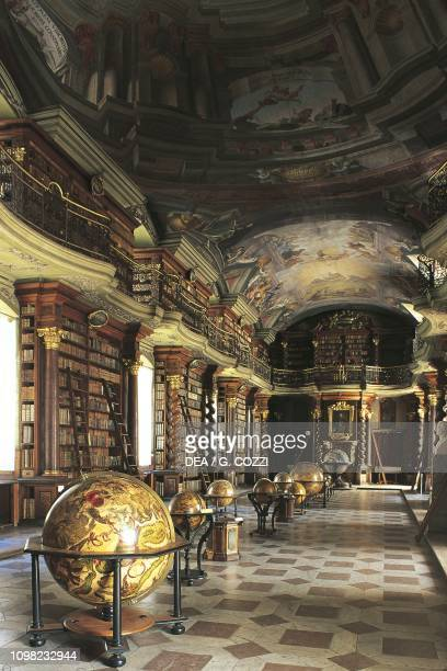 Baroque hall of National Library of Czech Republic, within the old Jesuit College Clementinum, historic centre of Prague , Czech Republic, 16th-17th...