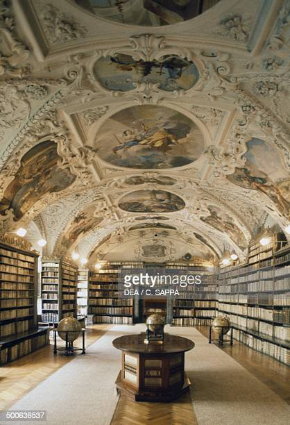 Baroque hall of the National Library of the Czech Republic, within the old Jesuit College Clementinum, historic centre of Prague , Czech Republic,...
