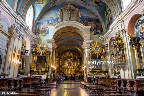 barocke interieur der bernhardiner-kloster in kalwaria zebrzydowska, polen - katholizismus stock-fotos und bilder