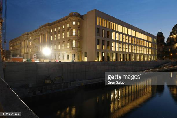 Baroque meets modernism in the facade of the Humboldt Forum at twilight on June 17, 2019 in Berlin, Germany. The Humboldt Forum will occupy the...