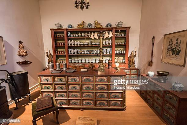 Baroque pharmacy displayed at Schloss Johannisburg museum in Aschaffenburg Germany 14 May 2015 one of the most important buildings of the Renaissance...