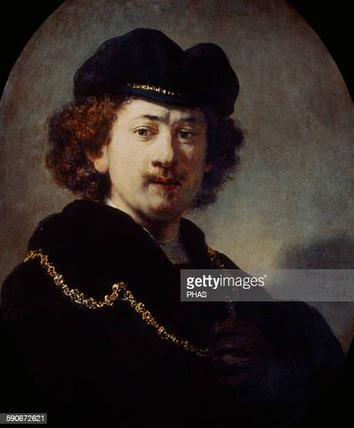 Baroque Rembrandt Harmenszoom van Rijn Dutch painter SelfPortrait wearing a Toque and a Gold Chain 1633 Oil on wood Museum of Louvre Paris France